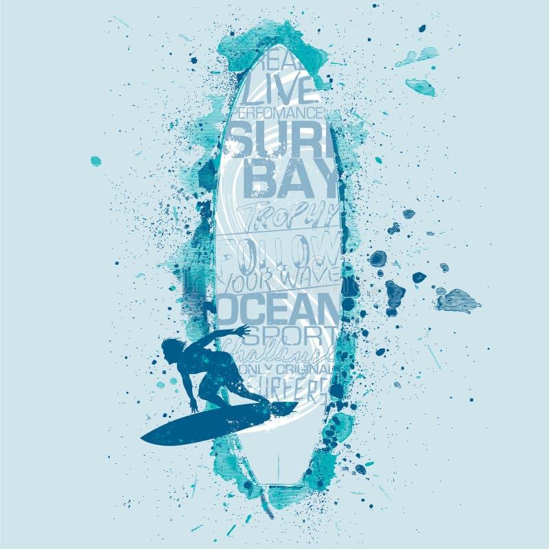 Graphique de planche de surf de vecteur sur le fond bleu-clair illustration libre de droits