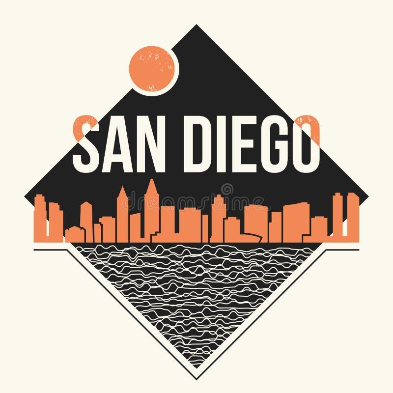 Graphique de San Diego, conception de T-shirt, copie de pièce en t, typographie, emblème illustration libre de droits