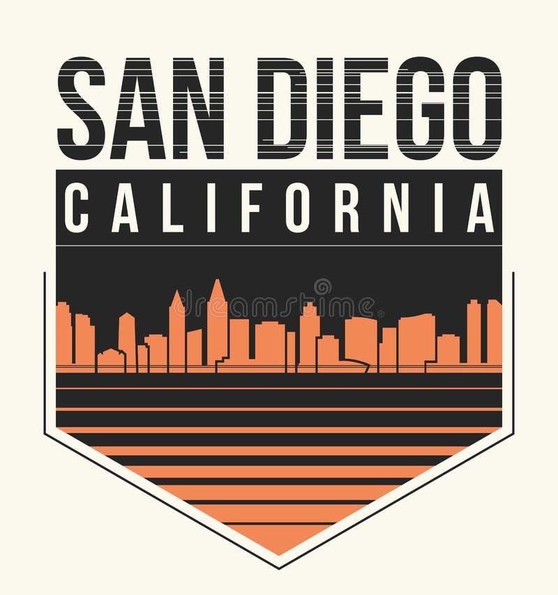 Graphique de San Diego, conception de T-shirt, copie de pièce en t, typographie, emblème illustration stock
