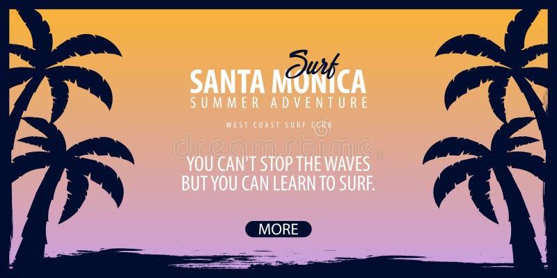 Graphique de Santa Monica Surfing avec des paumes Bannière de vecteur de club de ressac illustration libre de droits