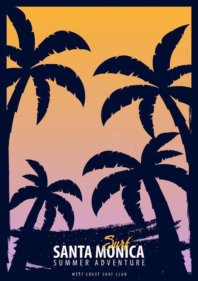 Graphique de Santa Monica Surfing avec des paumes Conception et copie de T-shirt illustration de vecteur
