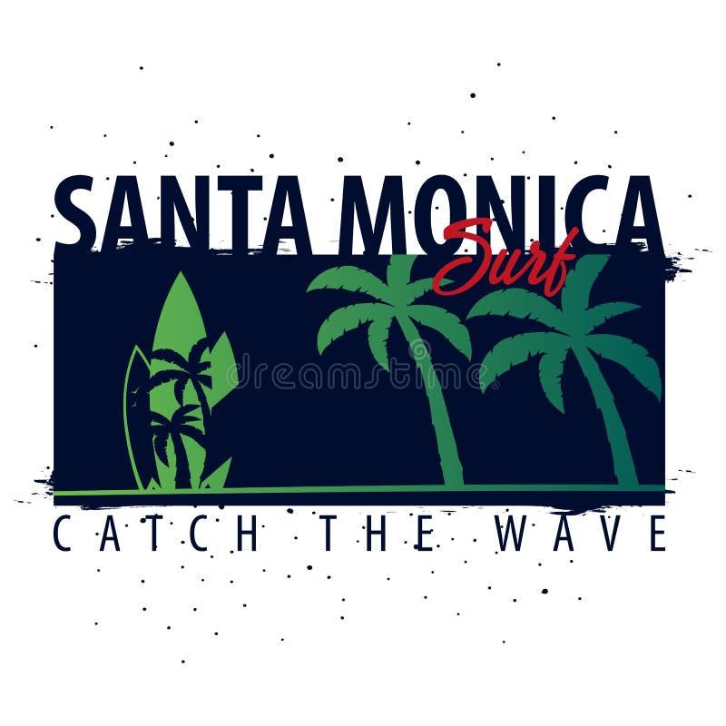 Graphique de Santa Monica Surfing avec des paumes Conception et copie de T-shirt illustration libre de droits