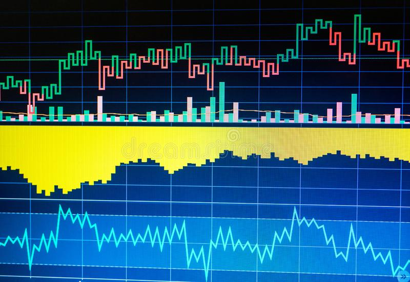 Graphique de sciences économiques du monde Vue conceptuelle de marché des changes Analyse technique image stock