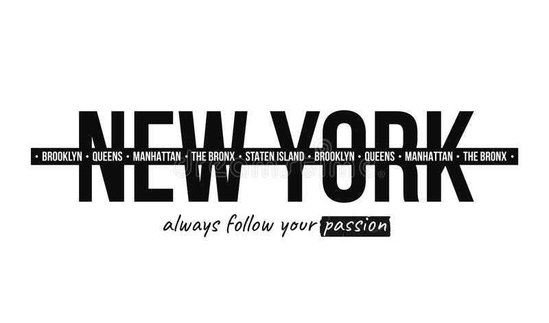 Graphique de slogan pour la copie de T-shirt Conception de T-shirt avec le slogan New York, typographie moderne pour la copie de  illustration stock