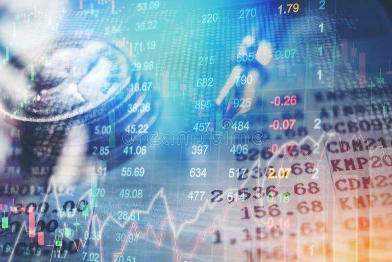 Graphique de stoc financier d'abrégé sur analyse d'indicateur de marché boursier photos libres de droits