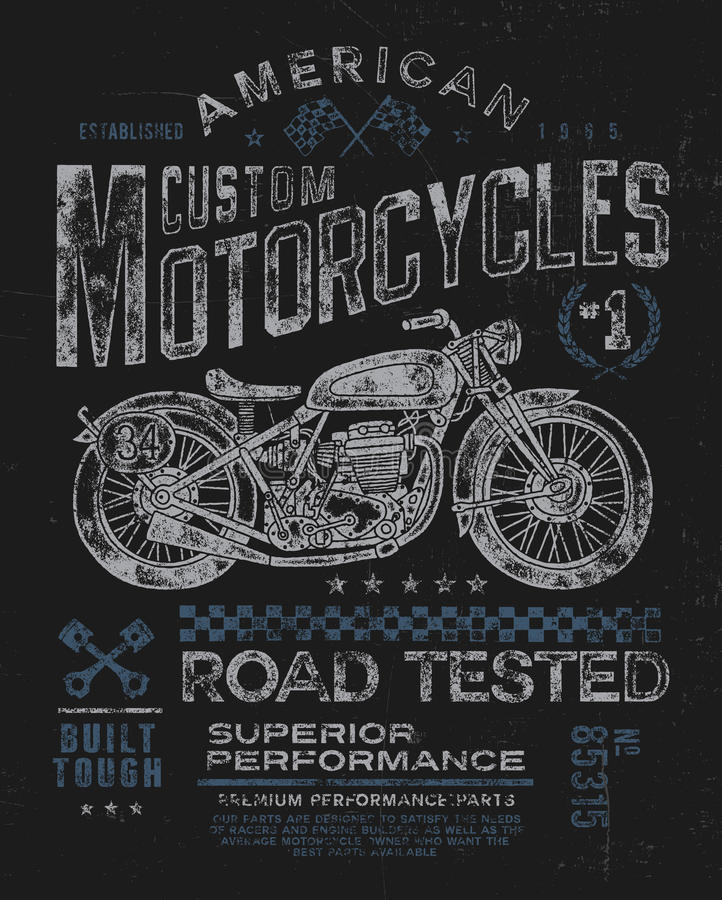 Graphique de T-shirt de moto de vintage illustration de vecteur