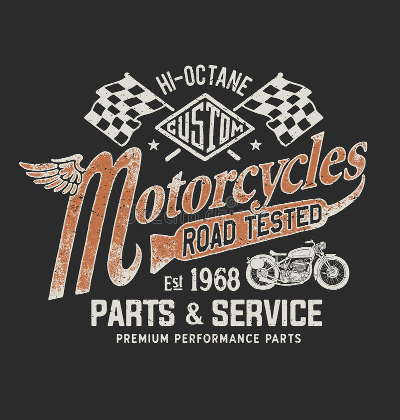 Graphique de T-shirt de moto de vintage illustration stock