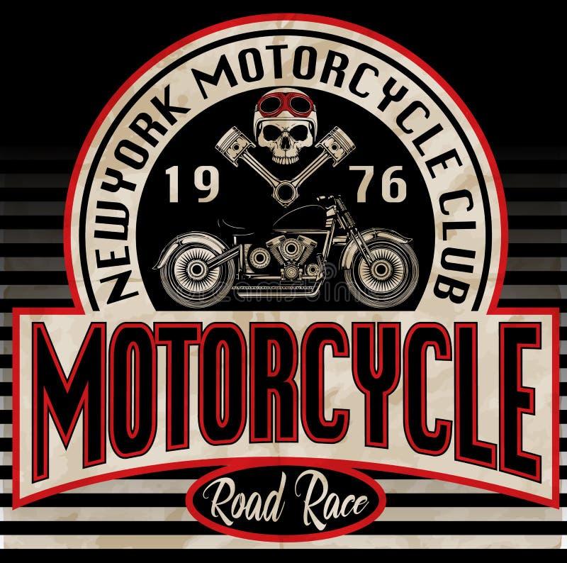 Graphique de T-shirt de moto de vintage illustration stock