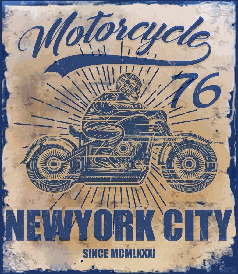 Graphique de T-shirt de moto de vintage illustration libre de droits