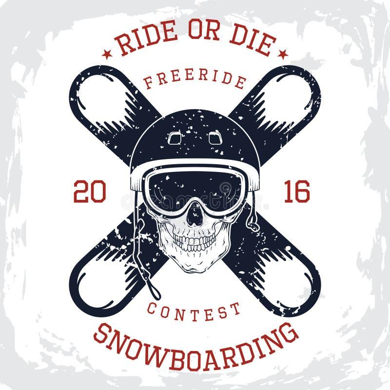 Graphique de T-shirt de roi de snowboarding illustration de vecteur