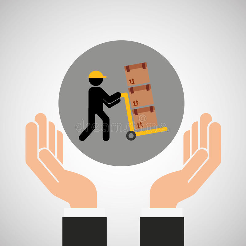 Graphique de transport de boîte en carton d'homme de service de remise en main propre illustration stock