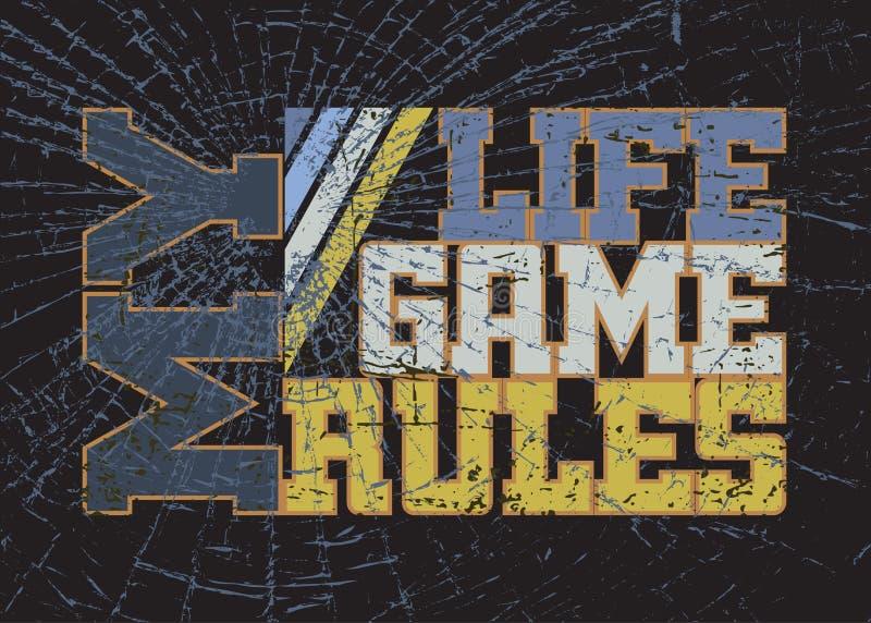 Graphique de typographie de T-shirt avec la citation que mon jeu de la vie ordonne illustration stock