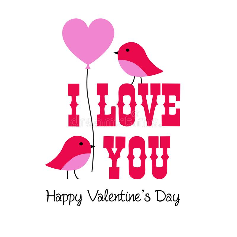 Graphique de Valentine avec les oiseaux et le ballon illustration libre de droits
