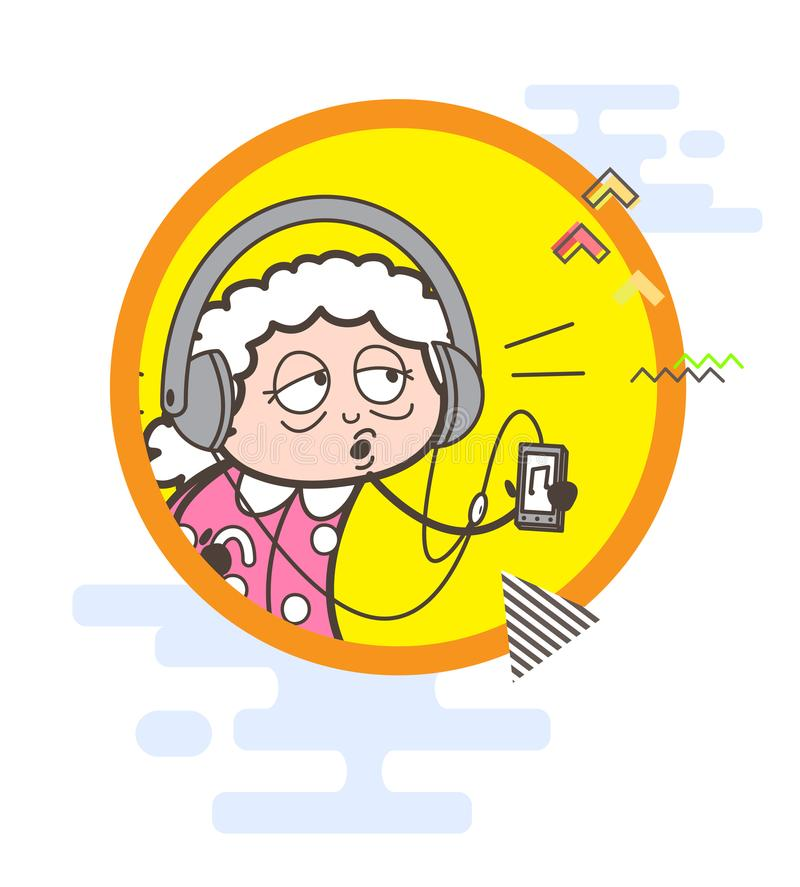 Graphique de vecteur de écoute de chanson de grand-maman de bande dessinée illustration libre de droits