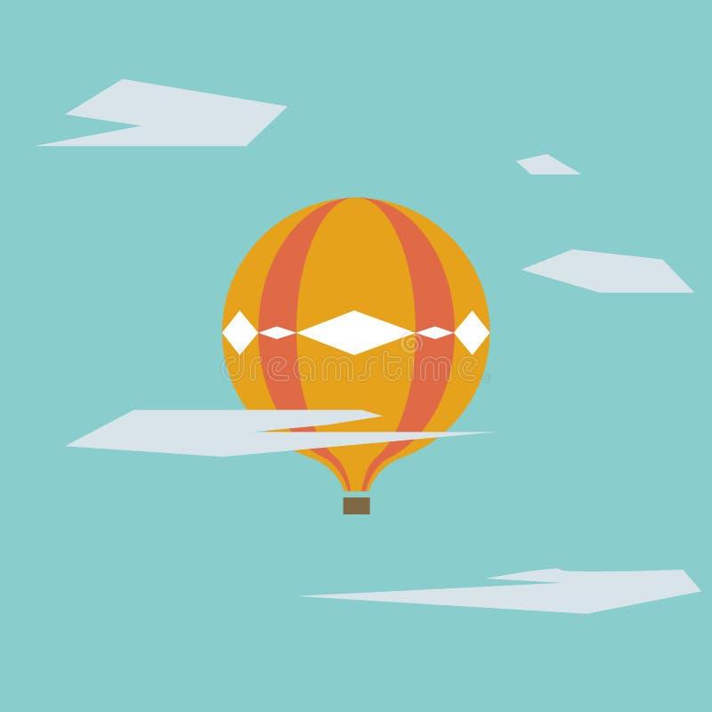 Graphique des ballons à air chauds sur le ciel bleu avec des nuages photo libre de droits