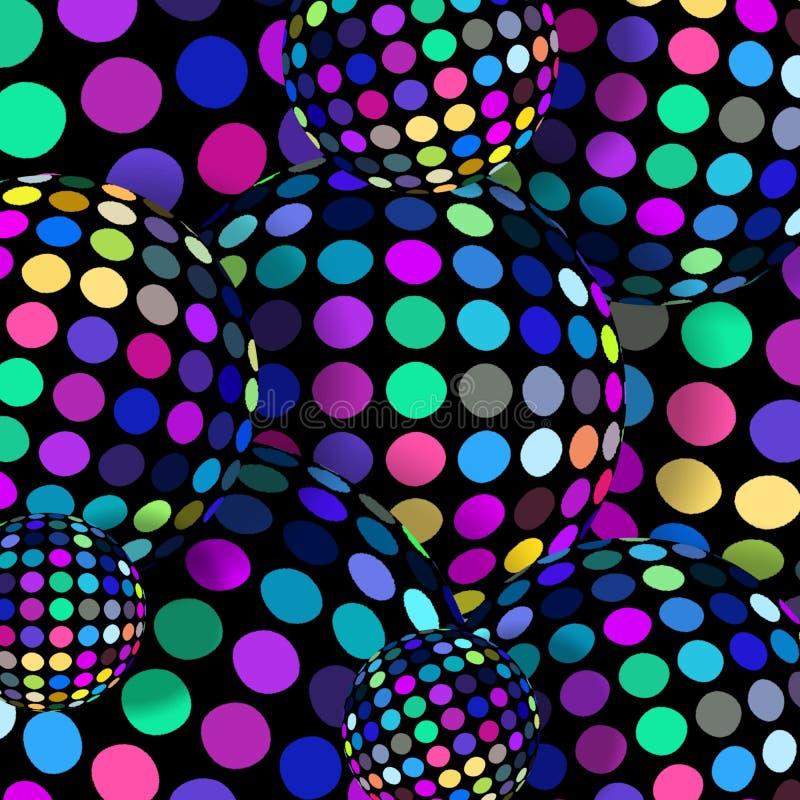 Graphique des boules 3d de mosaïque Modèle de points coloré lumineux azuré de polka de lilas de rose sur des sphères Papier peint illustration libre de droits