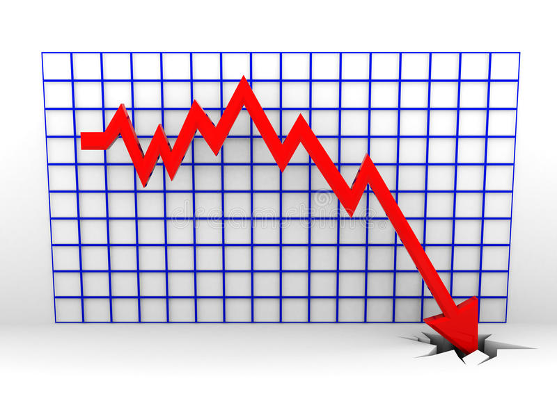Graphique en baisse illustration stock