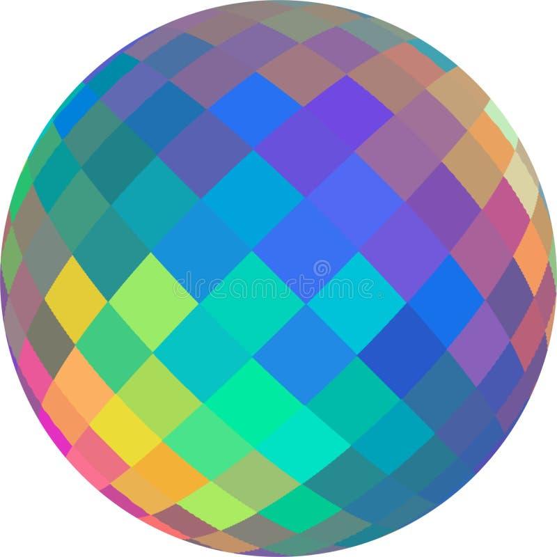 Graphique en cristal vert bleu de la sphère 3d d'hologramme jaune de rose Illustration iridescente de globe de mosaïque d'arc-en- illustration libre de droits