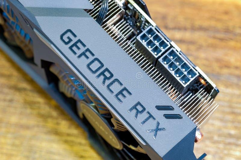 Graphique 2080 en gros plan d'OC de jeu de GeForce RTX de gigaoctet pour le PC d'ordinateur image libre de droits