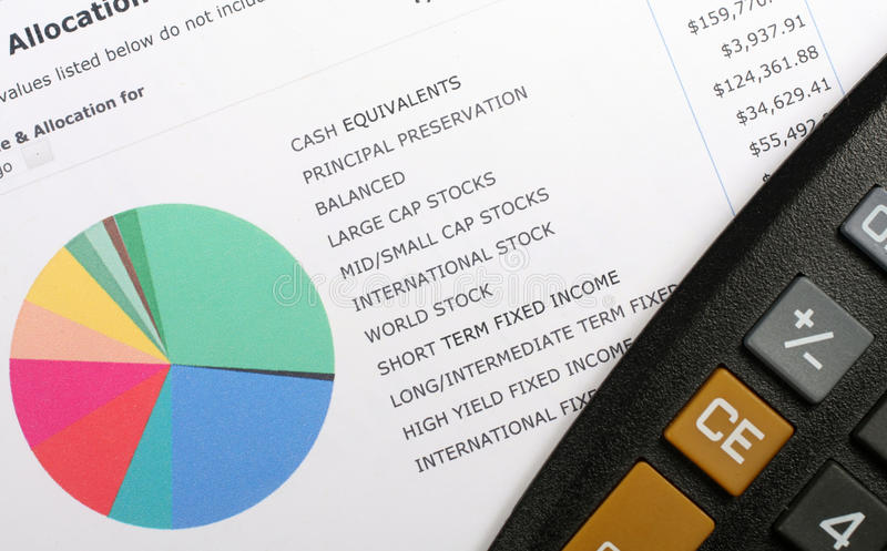 Graphique et calculatrice d'allocation d'investissement image stock