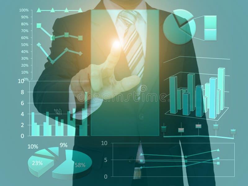 Graphique et technologie de l'espace de concept d'écran tactile d'homme d'affaires image stock