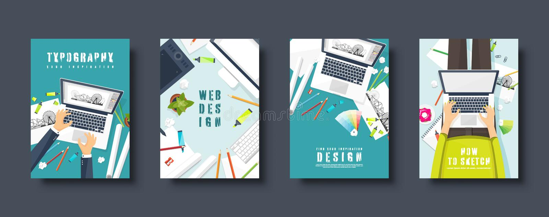 Graphique et web design Le style plat couvre l'ensemble Lieu de travail de concepteur avec des outils Design de l'interface d'uti illustration de vecteur