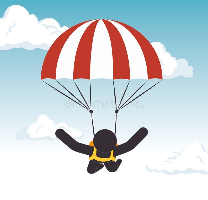 Graphique extrême de parachutage de sport d'homme illustration stock