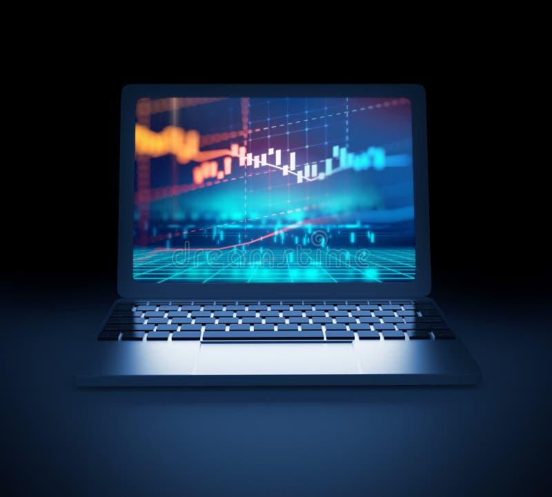 Graphique financier technique sur l'illustration de l'écran 3d d'ordinateur portable illustration stock