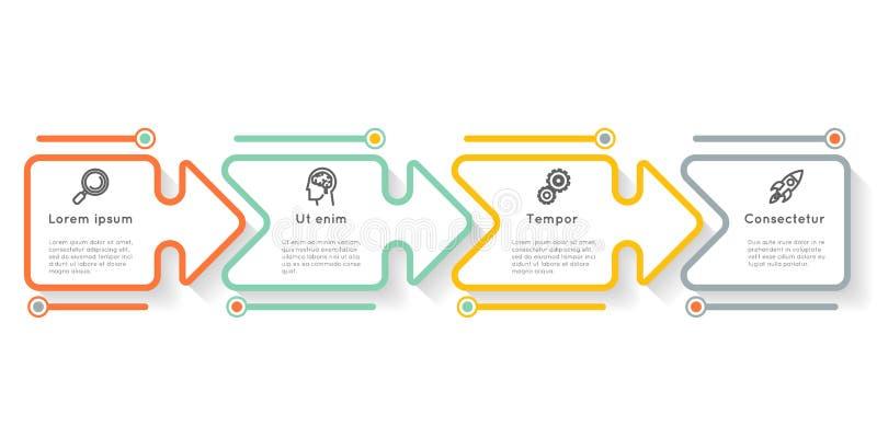 Graphique infographic de l'information de disposition de déroulement des opérations d'icônes d'étapes d'options de label de prése illustration libre de droits