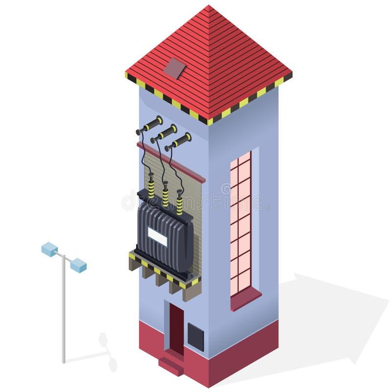 Graphique isométrique d'infos de bâtiment de transformateur électrique Centrale à haute tension illustration libre de droits