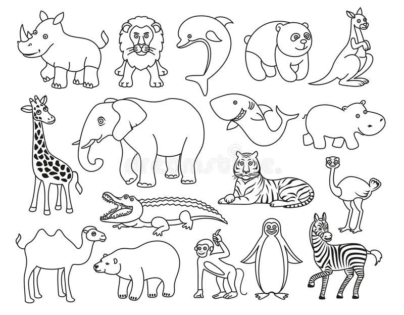 Graphique noir et blanc d'animaux sauvages dans la ligne style illustration de vecteur