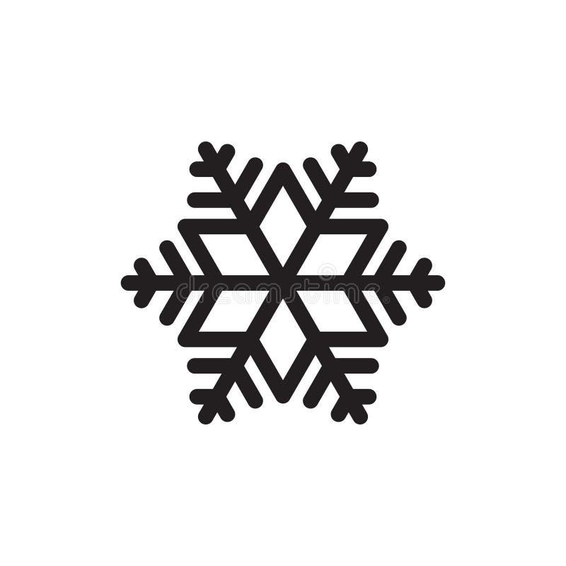Graphique noir simple d'icône de flocon de neige Élément d'isolement sur le fond blanc illustration libre de droits