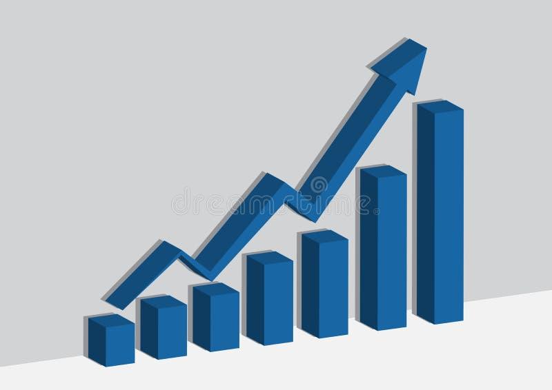 Graphique ou graphique de gestion bleu sur l'ombre de mur et de sheader illustration de vecteur