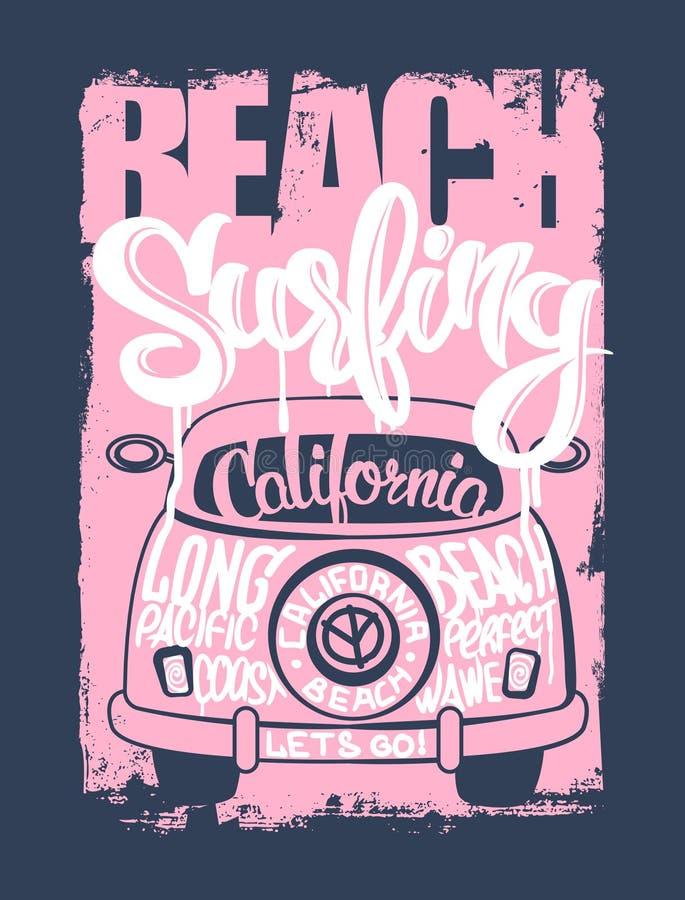 Graphique pour l'habillement Chemise d'emblème de surfer de plage illustration de vecteur
