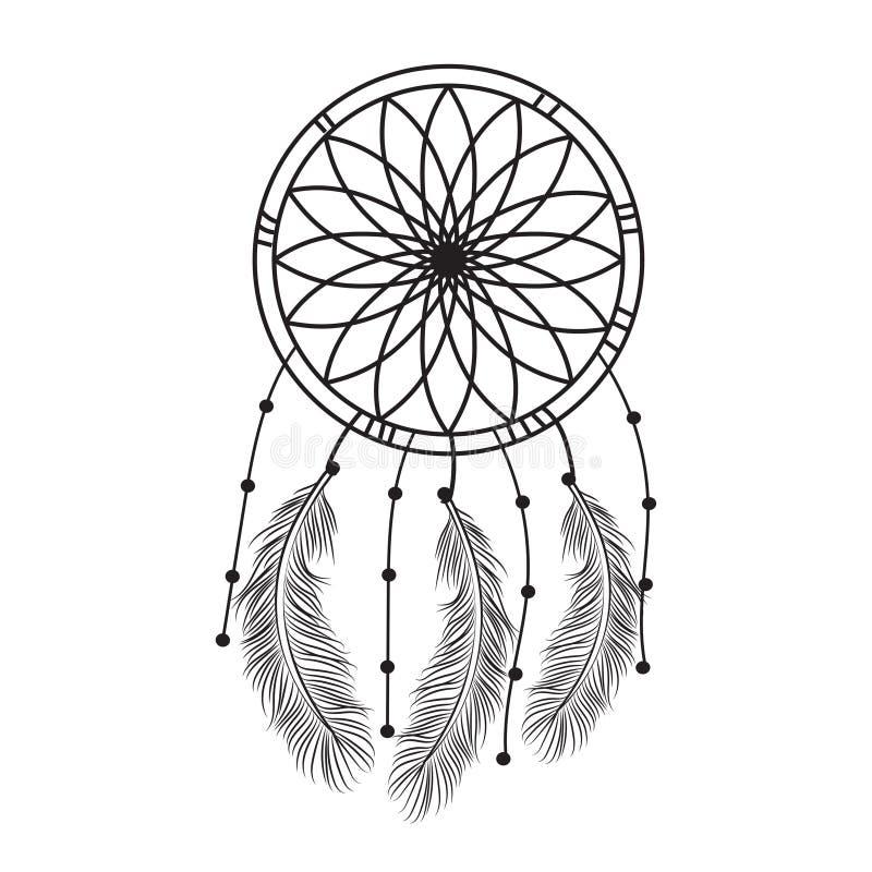 Graphique rêveur de receveur en noir et blanc décoré des plumes et des perles donnant à son propriétaire de bons rêves dans le st illustration libre de droits