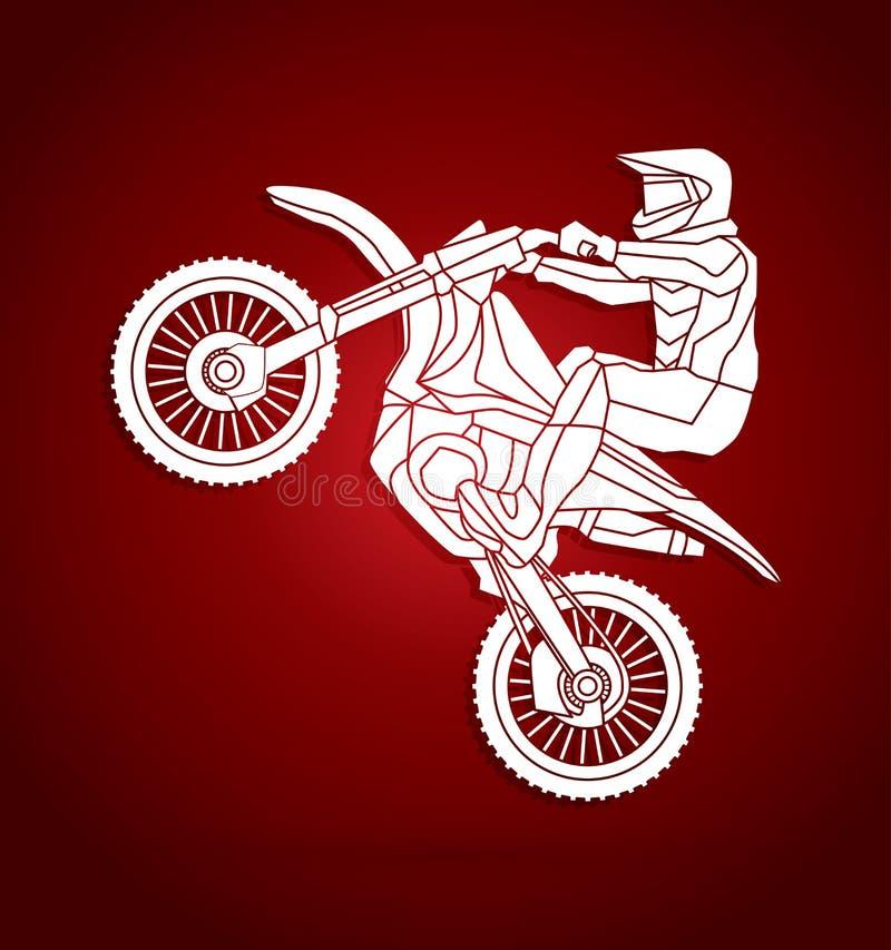 Graphique sautant croisé de moto illustration de vecteur
