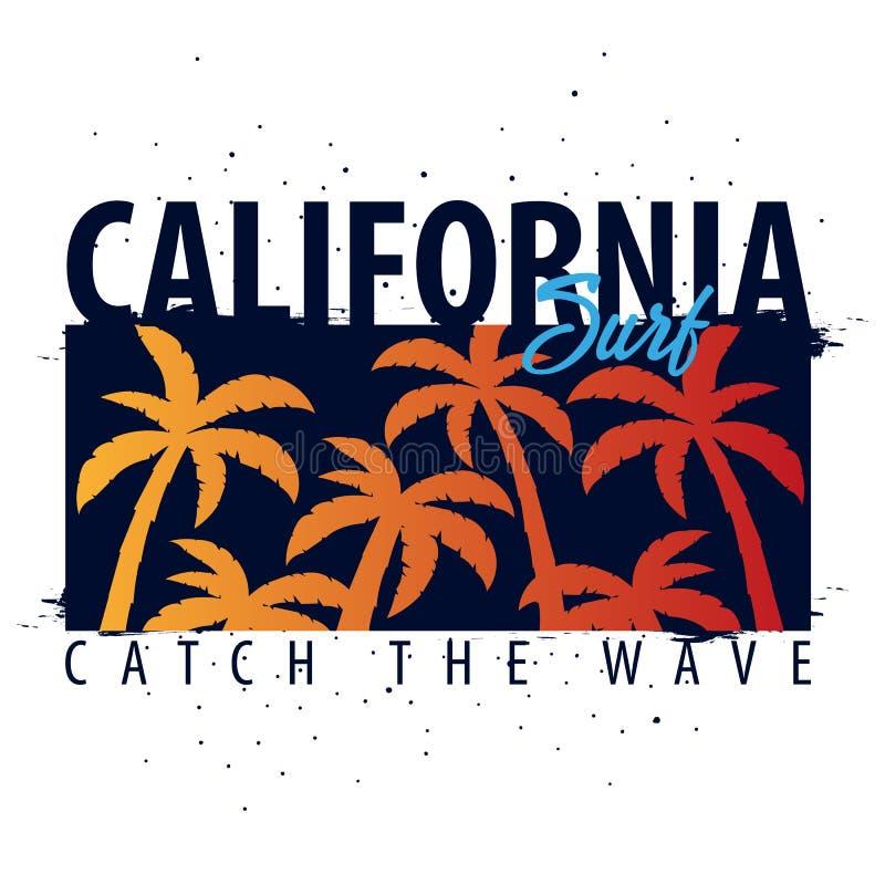 Graphique surfant de la Californie avec des paumes Conception et copie de T-shirt illustration stock