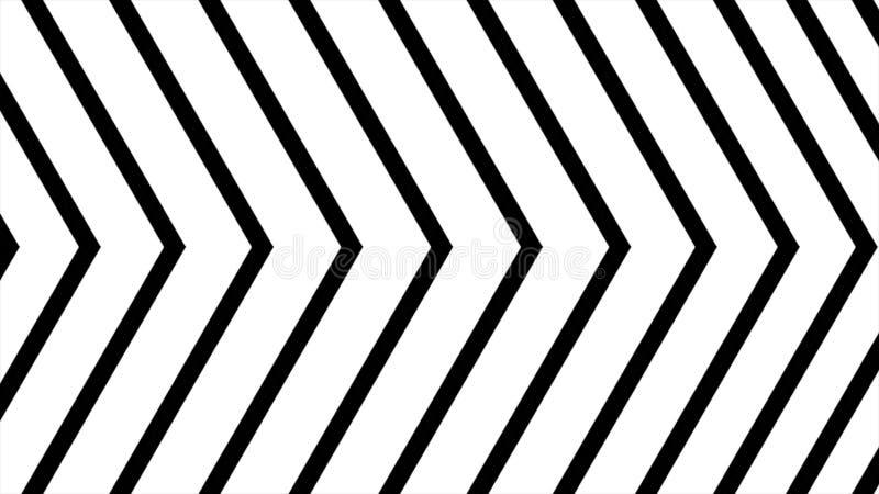Graphiques abstraits de mouvement de cgi et fond animé avec l'angle noir et blanc mobile Mouvement élevé de cgi de définition illustration libre de droits
