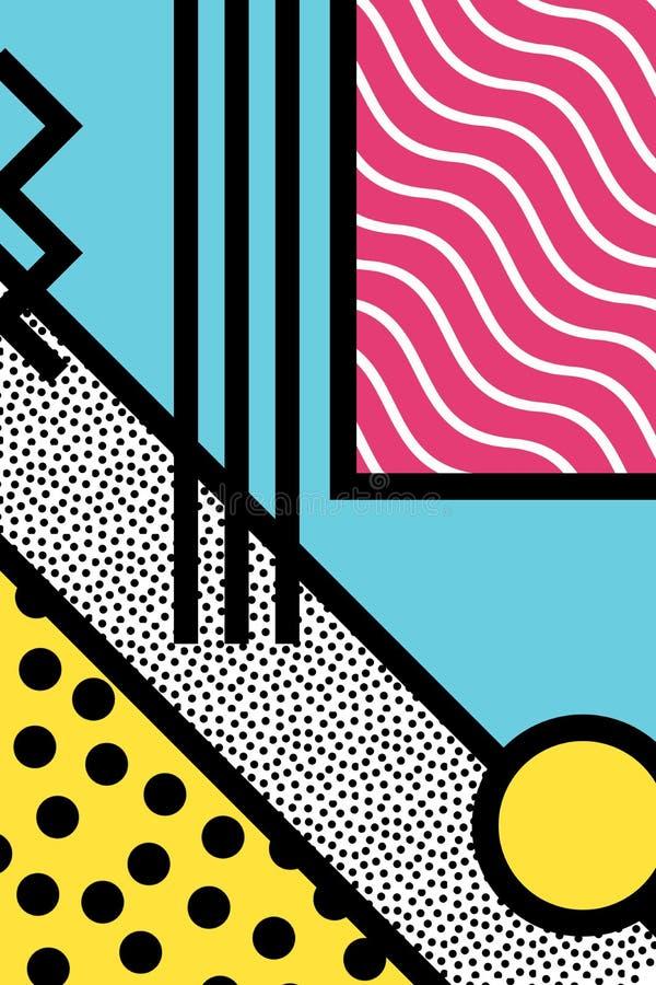 Graphiques abstraits de style d'art de bruit de 80s Memphis illustration de vecteur
