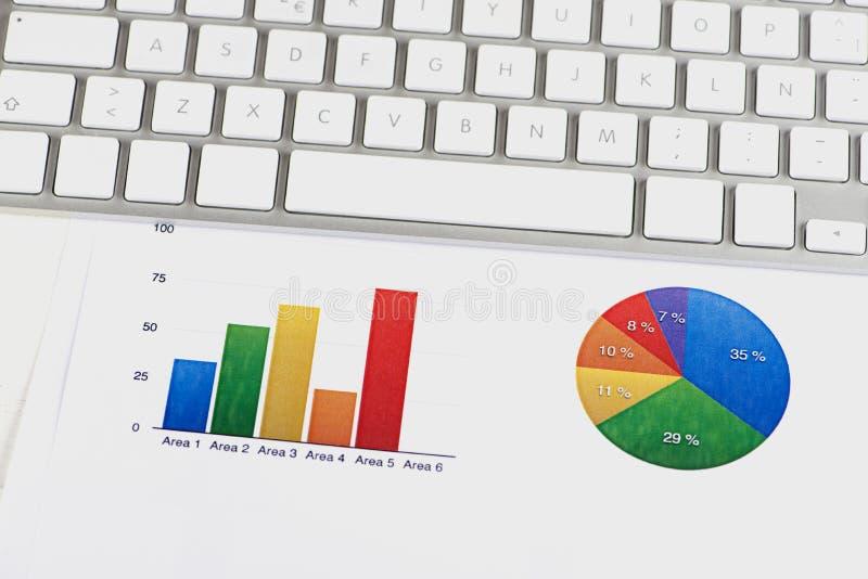 Graphiques couleur de finances avec un clavier d'ordinateur photos stock