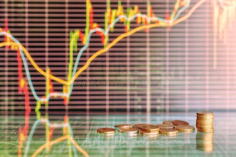 Graphiques d'argent et de marché boursier photo stock