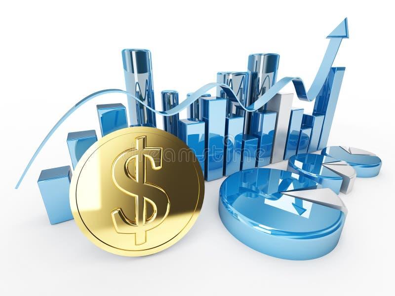 graphiques d'or de statistique de symbole dollar de devise du dollar photos stock