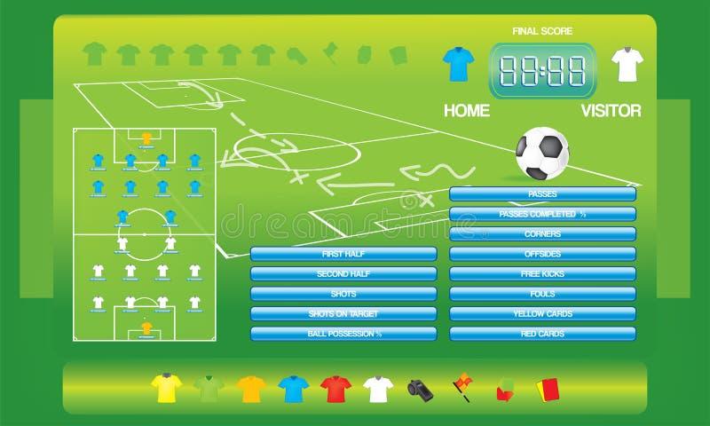 Graphiques d'infos pour le jeu de football du football, icônes, éléments de jeu, tableau indicateur illustration de vecteur