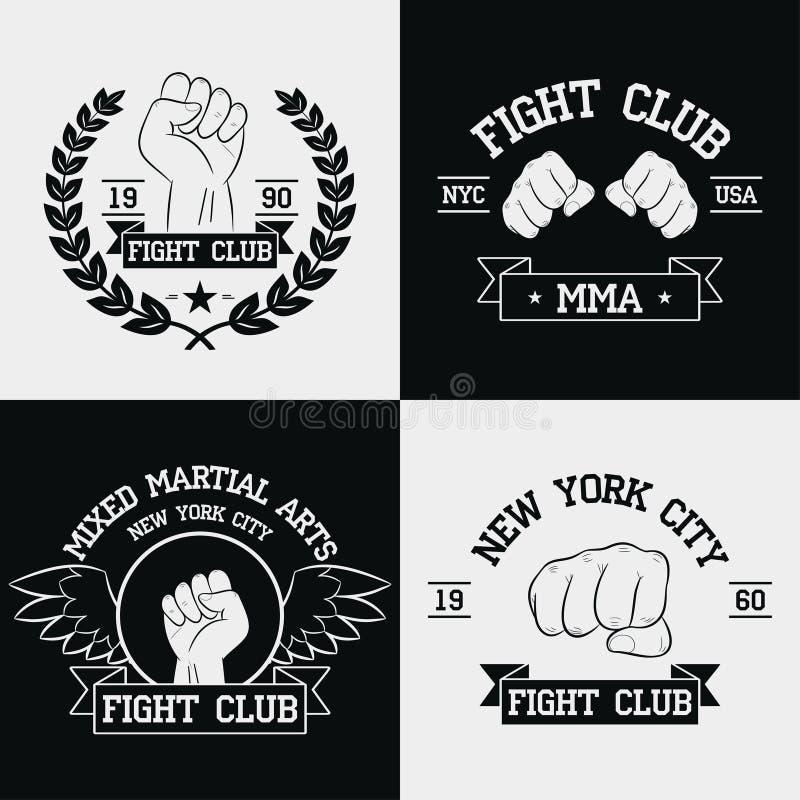 Graphiques de club de combat pour l'ensemble de T-shirt New York City, Muttahida Majlis-e-Amal, arts martiaux mélangés La typogra illustration libre de droits