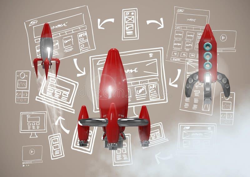 graphiques de dessins de vol de 3D Rocket et d'ordinateur d'image illustration libre de droits