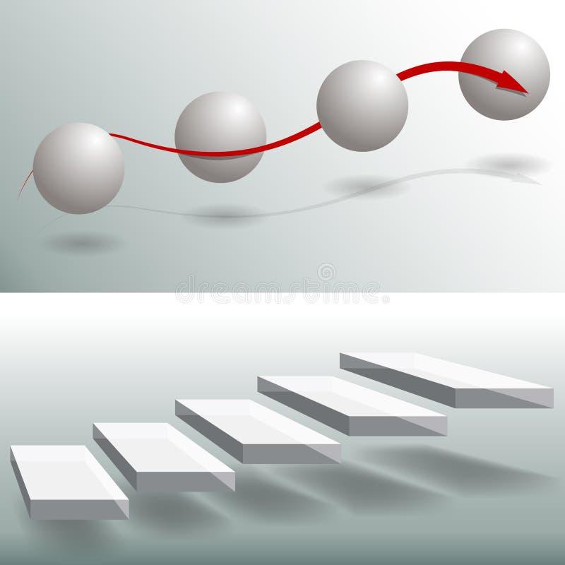 Graphiques de gestion élégants d'escaliers de sphère illustration de vecteur