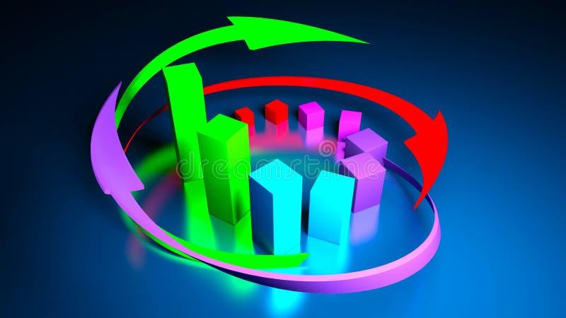 Graphiques de gestion et indicateurs de devise illustration de vecteur