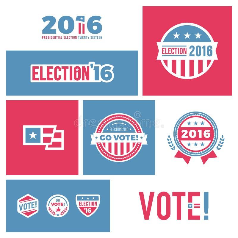 Graphiques de l'élection 2016 illustration de vecteur