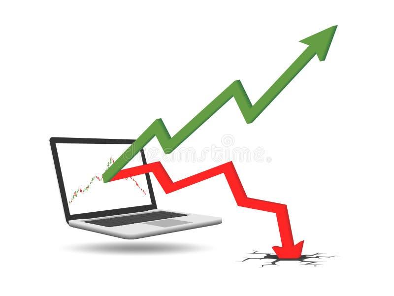 Graphiques de profits et pertes de l'investissement courant illustration stock