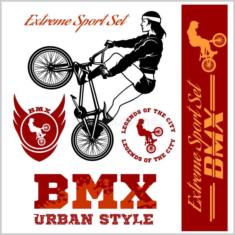 Graphiques de T-shirt de BMX Style extrême de rue de vélo - dirigez le cyclyst de BMX illustration de vecteur